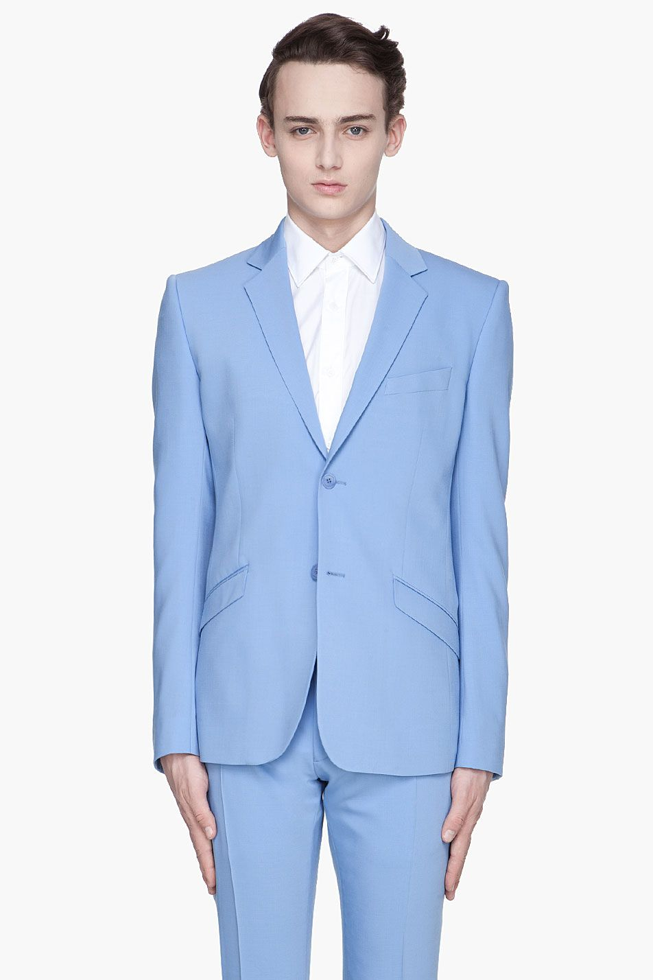 Mugler powder blue wool twobutton suit blazer style
