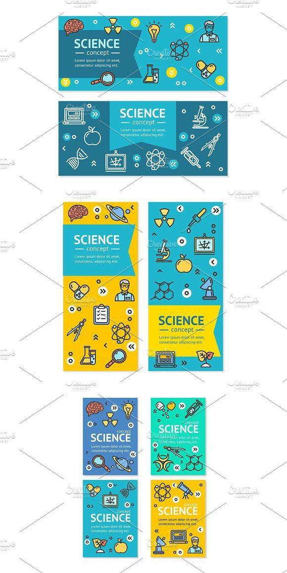 science research flyer banner graphic illustration. Black Bedroom Furniture Sets. Home Design Ideas