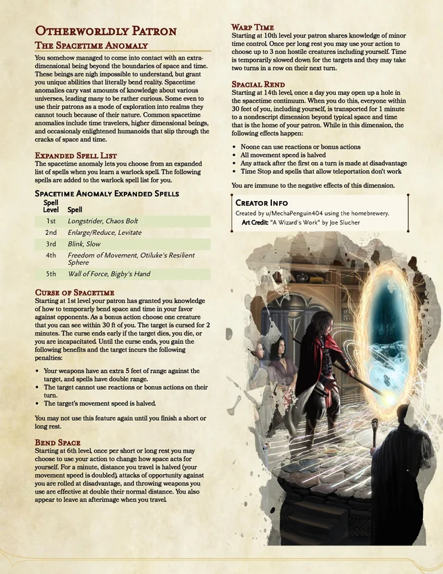 Otherworldly Patron The Spacetime Anomaly 5e Unearthedarcana Dungeons And Dragons Homebrew Dungeons And Dragons Classes Dnd Classes A feat represents a talent or an area of expertise that gives a character special capabilities. dungeons and dragons homebrew