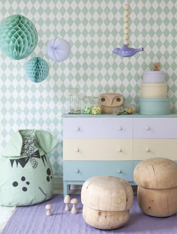 wandgestaltung kinderzimmer tapeten geometrische muster sanfte, Schlafzimmer design