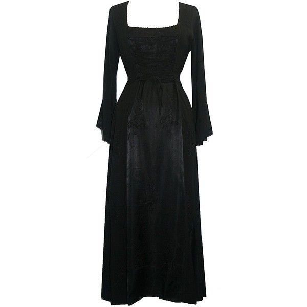 DR 003 Agan Traders-Vampire Gothic Renaissance Dress Gown ($80) ❤ liked on Polyvore featuring dresses, gowns, renaissance ball gown, goth gown, gothic clothing dresses, gothic gowns and gothic lolita dress