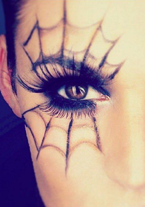 Photo of Spider web, made up – Halloween makeup idea and costume for women