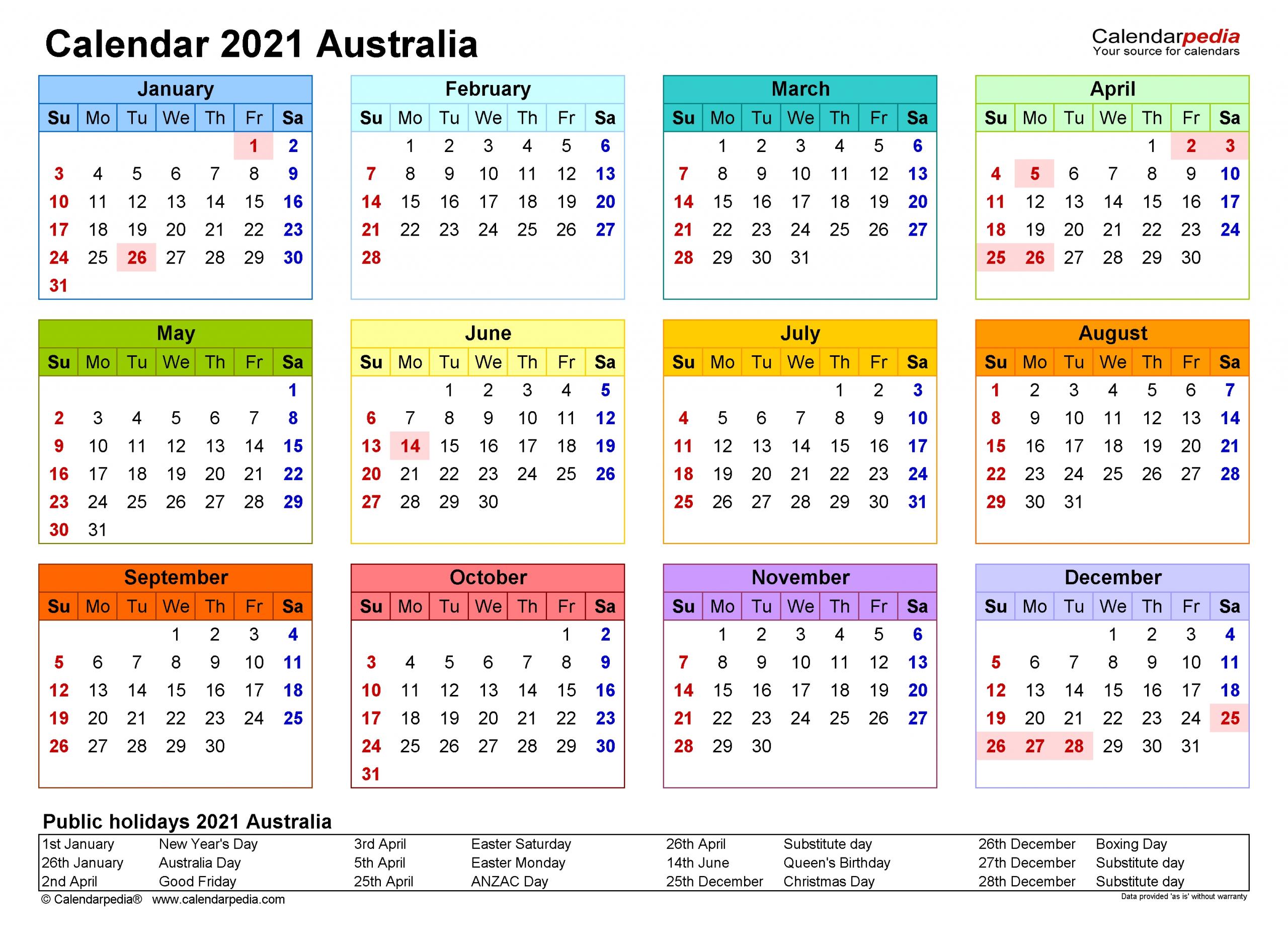 Free Printable Calendar 2021 Australia Yearly Calendar Template Printable Calendar Design Free Calendar Template