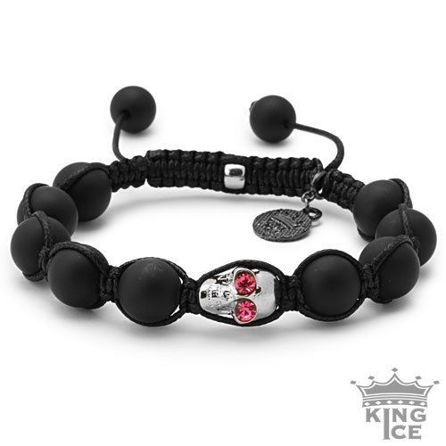 Matte Agate Bead Pink Bling Bling CZ Skull Bracelet King Ice. $39.99. Disco Ball Jewelry. Skull Bead Bracelet. 90 Day Warranty. Adjustable Size. Celebrity Style. Save 50% Off!