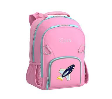 Small Backpack Fairfax Pink Aqua Solid Rocket Striped