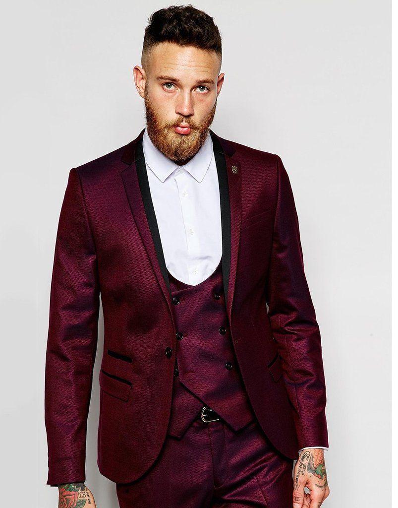 Brand New Groomsmen Notch Lapel Groom Tuxedos Burgundy Jacket Men ...