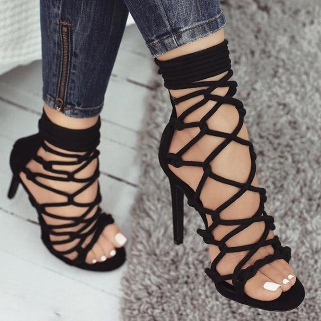 b26730b0676 Thin High Heel Womens Cross Tied Lace Up Sandals in 2019