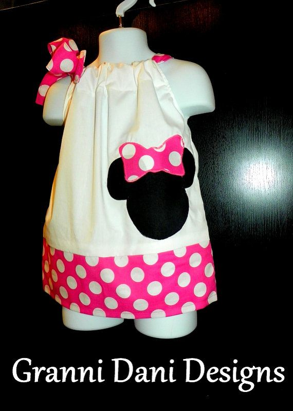 Minnie Mouse pillowcase dress pink white minnie mickey applique 0 3 6 9 12 18 24 months 2t 3t 4t 5t baby toddler girl