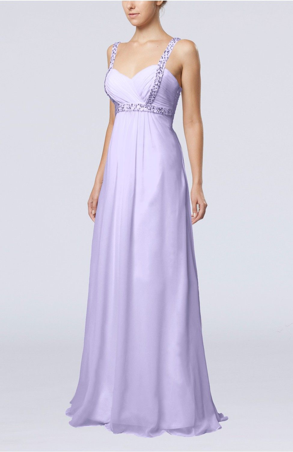 Lavender Bridal Gown - Simple Hall Empire Thick Straps Floor Length Beaded