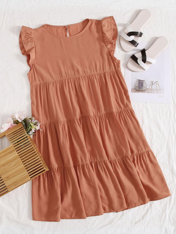 Ruffle Armhole Layered Smock Dress Shein Usa Dresses Smock Dress Summer Dresses [ 1332 x 1000 Pixel ]