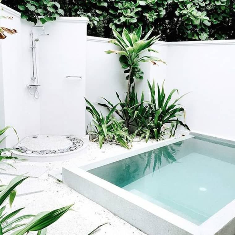 These Small Backyard Pools Show How to Make a Splash in the Tiniest Spaces is part of Small backyard pools, Backyard pool, Small pool design, Small backyard, Small pools, Backyard - You don't have to have a big backyard to fit in a pool—and if you do have a big backyard, the pool doesn't have to take up the entire thing