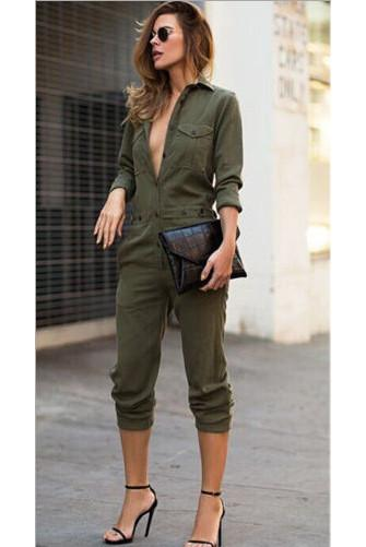 11aa0d2b6574 Pure Color Button V-neck Long Sleeves Knee-length Jumpsuit