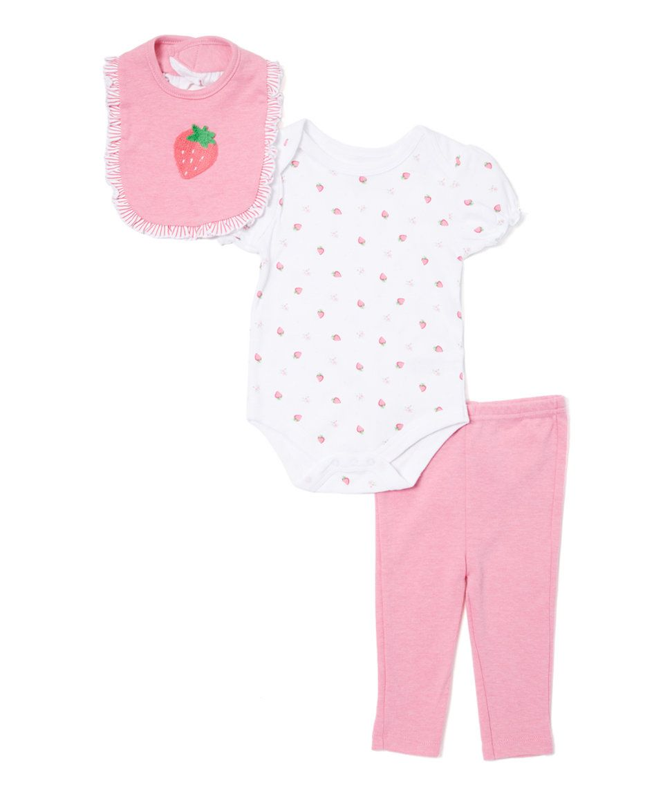 Take a look at this Red Strawberry Three-Piece Set - Infant today!
