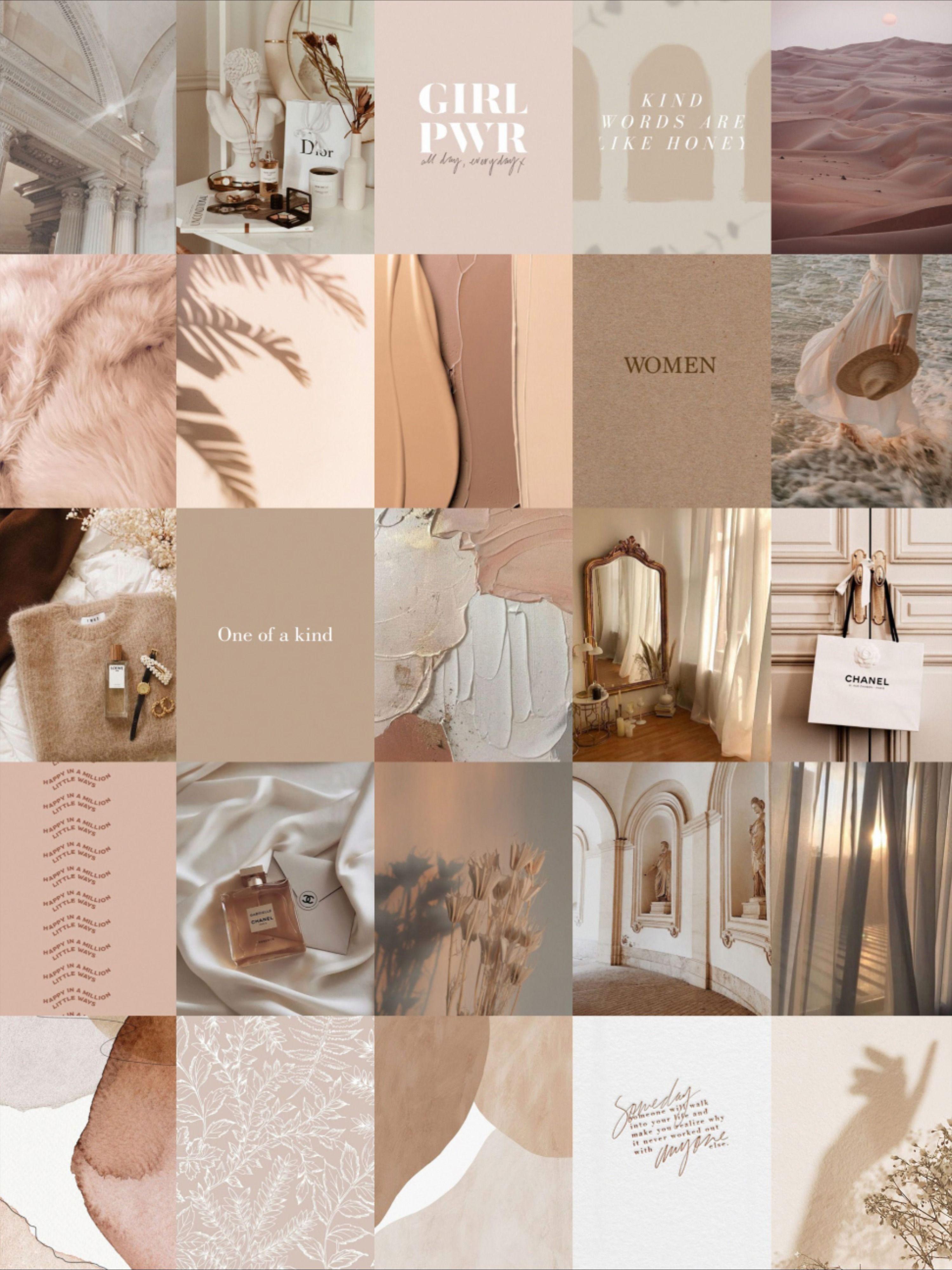 beige wall collage kit aesthetic digital prints