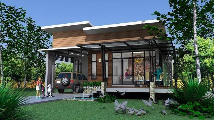 แบบบ านช นเด ยว สไตล โมเด ร นขนาด 3 ห องนอน 2 ห องน ำ งบสร าง 8แสน ใช ท ด นหน ากว างไม ถ ง 15 เมตร พ One Storey House House Extension Design Bungalow Design