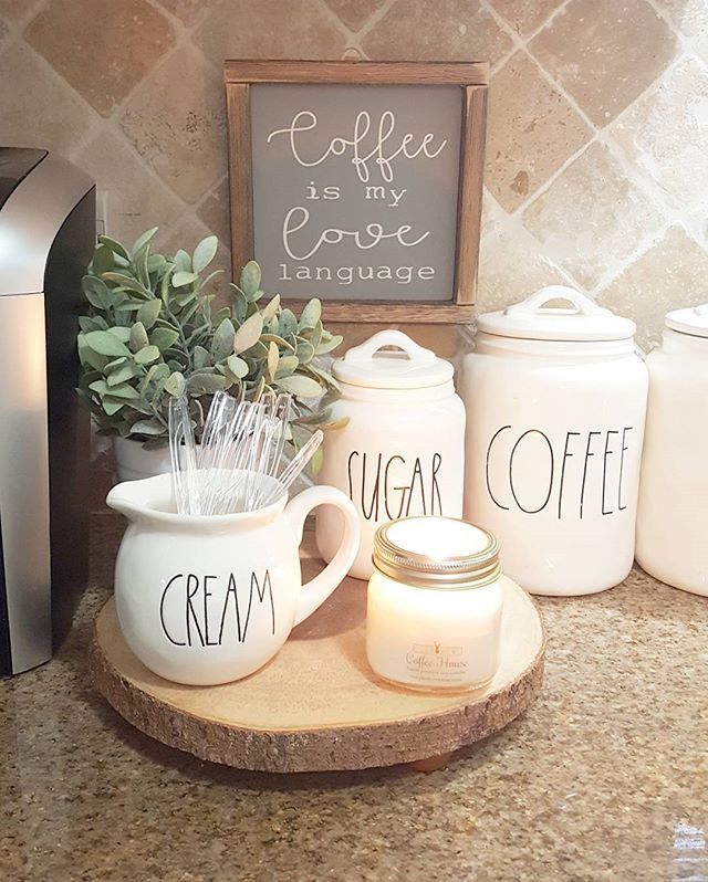 """It's been such a gloomy afternoon around here! Makes me  So having another cup☕ and got my @cozyhomeonline """"coffee house"""" candle burning. Seriously yall it's the most true coffee scented  candle I've yet to find. So good And,  I just love my cute """"coffee is my love language"""" sign from Jenny @our.rustic.nest"""