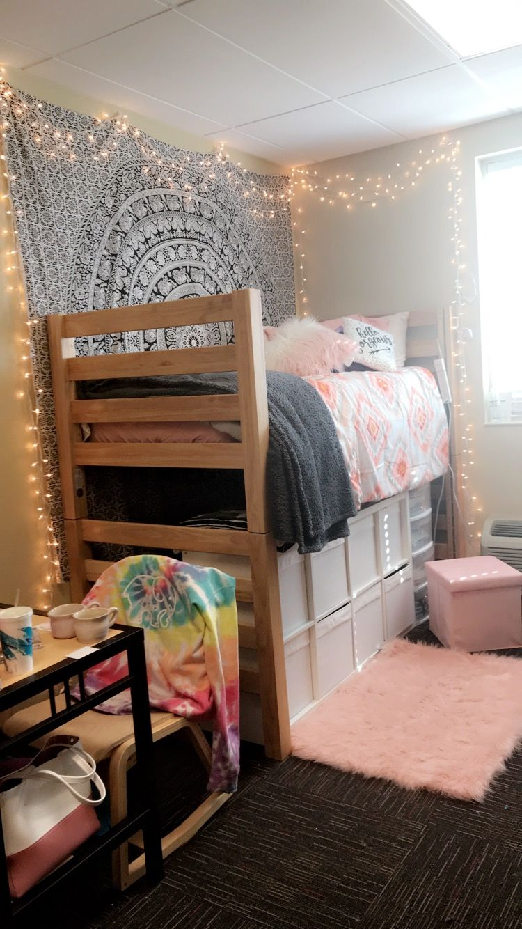 Wingate University   dorm room   CM Black   pink   white   lights   loft