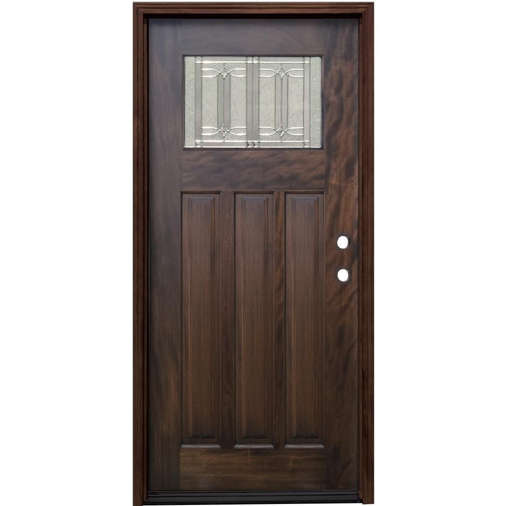 Pacific Entries 36 In X 80 In Craftsman Espresso Left Hand Inswing Diablo Decorative Glass Stained Mahogany Wood Prehung Front Door Brown In 2020 Decorative Hinges Craftsman Door Wood Glass