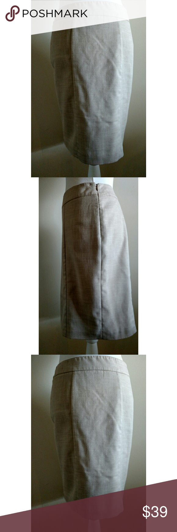 White House Black Market Skirt - Size 4 White House Black Market Skirt - Size 4  Neutral skirt has detail along the back center hem (see picture for details).  Side zip and hook and eye closure. Lined.  Excellent used condition  Materials: 52% rayon, 47% polyester, 1% spandex; Lining: 100% polyester  Machine wash cold  No stains, holes, or other damage White House Black Market Skirts
