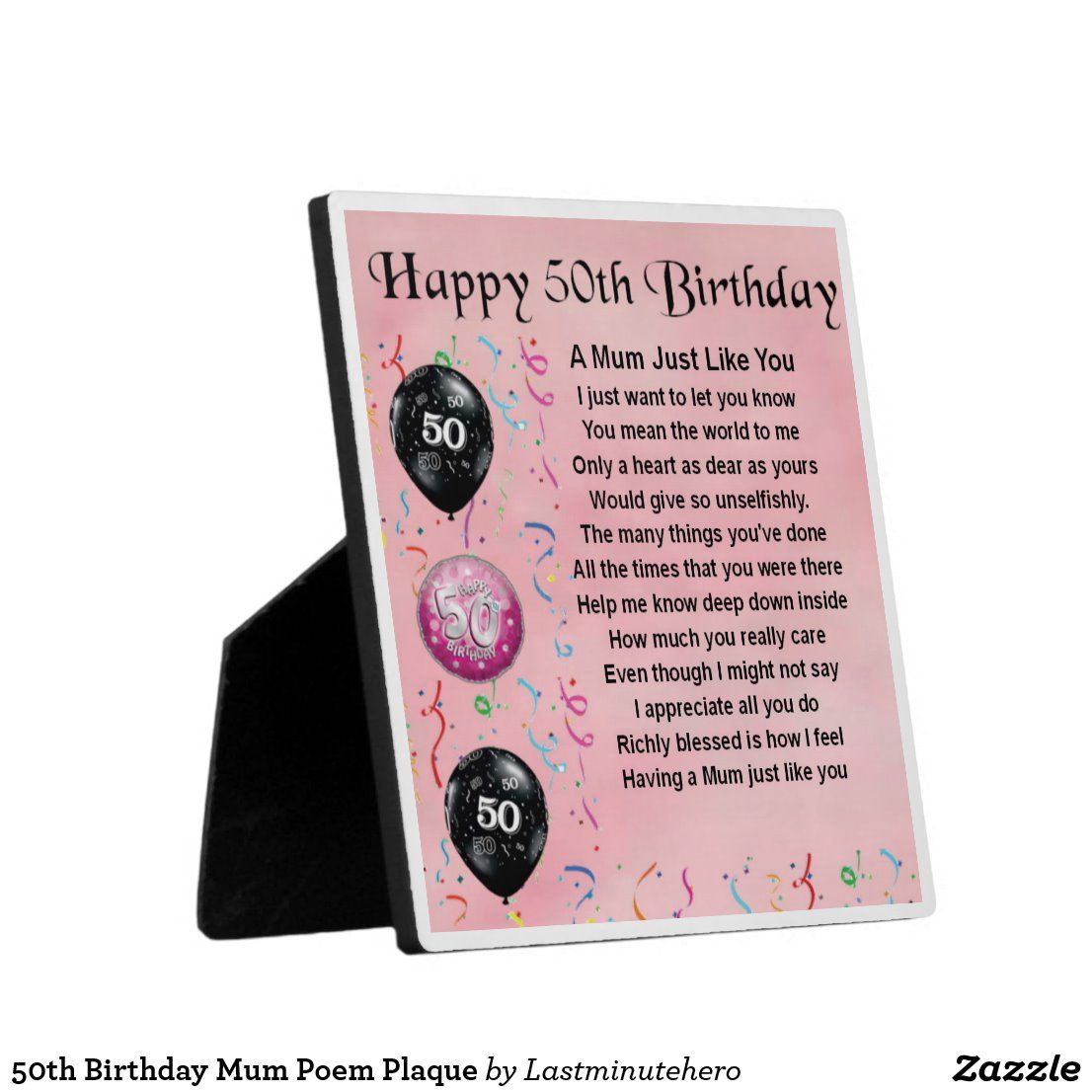 50th Birthday Mum Poem Plaque Zazzle.co.uk in 2020