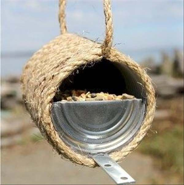 4.) Old cans can make great bird feeders.