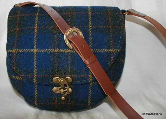 Harris Tweed Saddle Bag in a Blue and Yellow by Ten10Creations