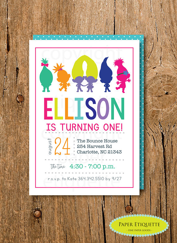 Trolls Inspired Birthday Invitation Rainbow Party Kids Sleepover
