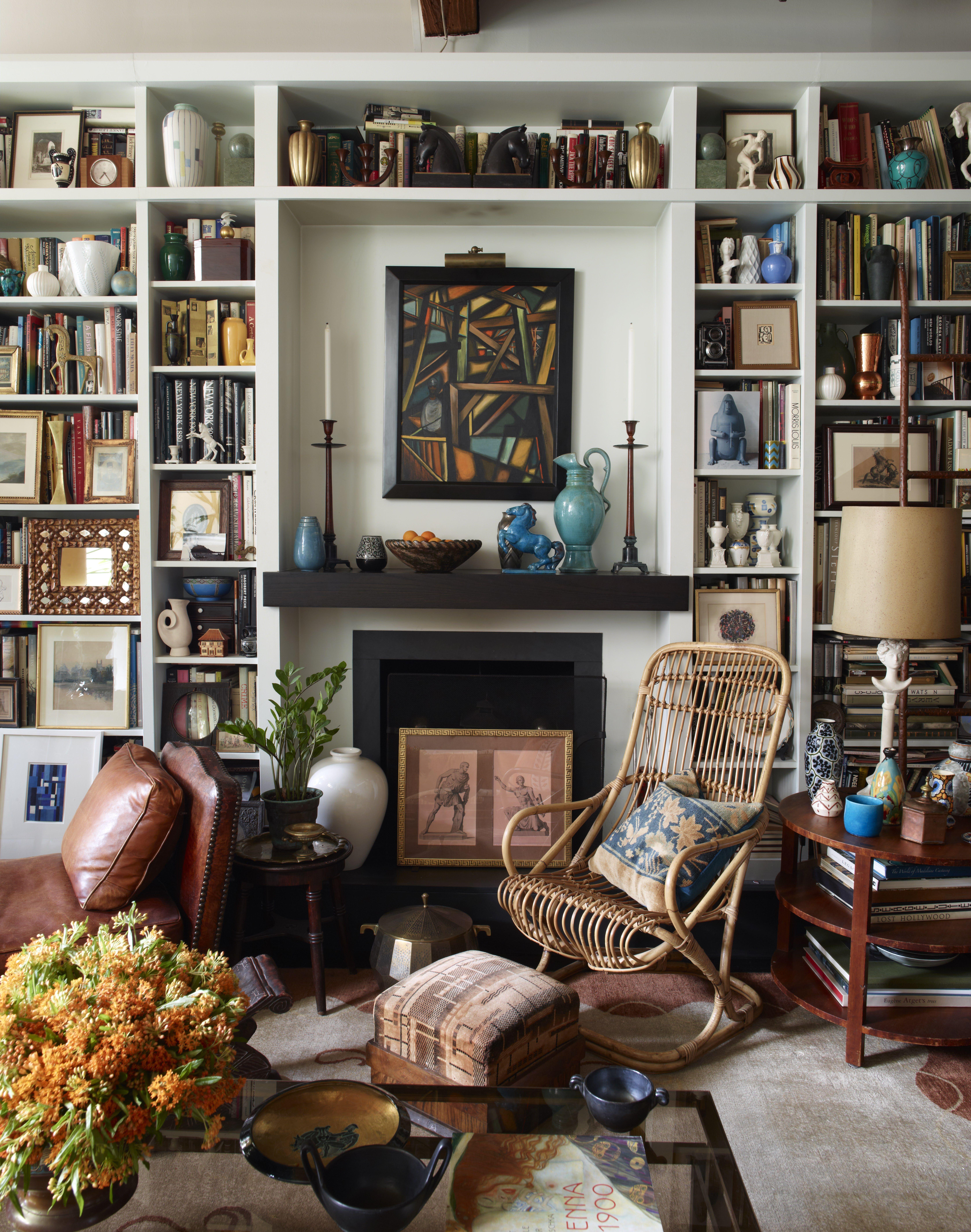 Alexandra loew living room artwork books interior design