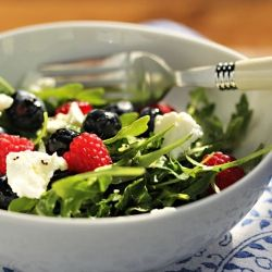 Arugula, berries, goat cheese, poppy seed dressing. Health in a bowl!