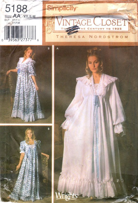 simplicity 5188 misses victorian nightgown robe pattern turn century