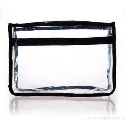 Large Clear Vinyl Makeup Bag with Black Fabric Trim | Black fabric
