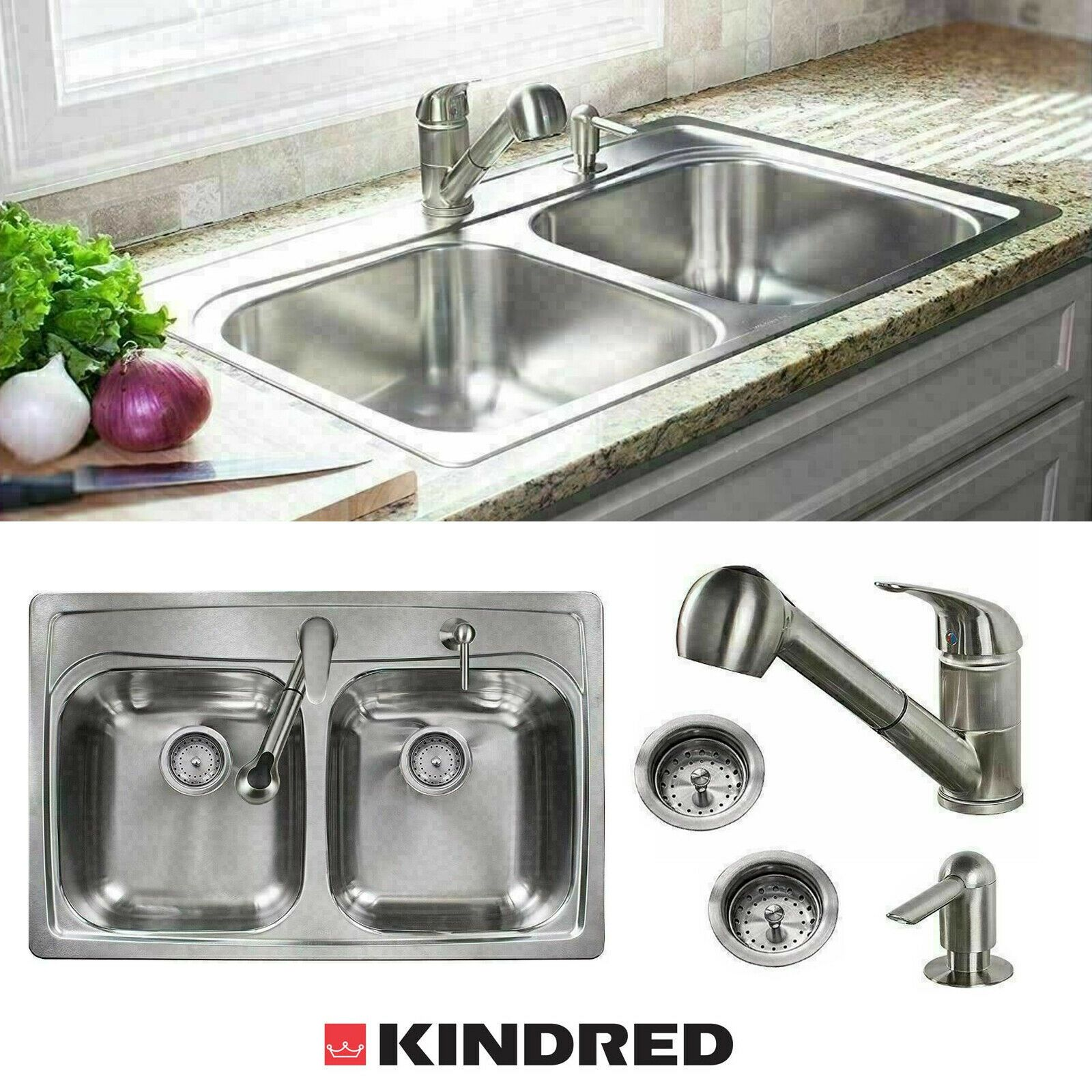 Stainless Steel Kitchen Sink Combo 33 X 22 X 8 Top Mount Double