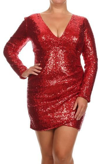 Crushed Red Sequin Long Sleeve Drape Dress Plus Size Black Sequin