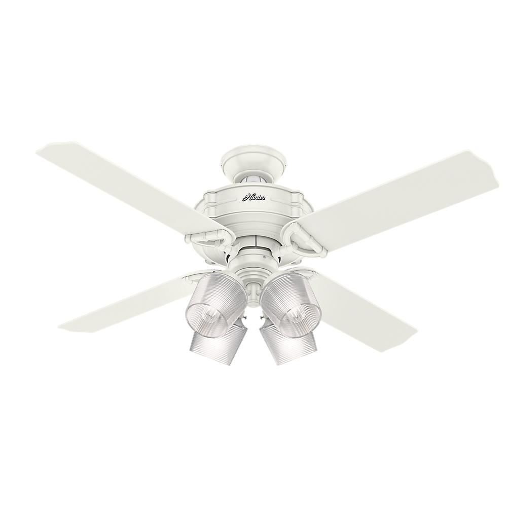 Hunter Brunswick 52 In Led Indoor Fresh White Ceiling Fan With Handheld Remote Control And