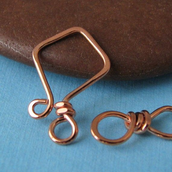 Handmade Copper Clasp, Small 20g Aztec Hook and Eye, Kite Series ...