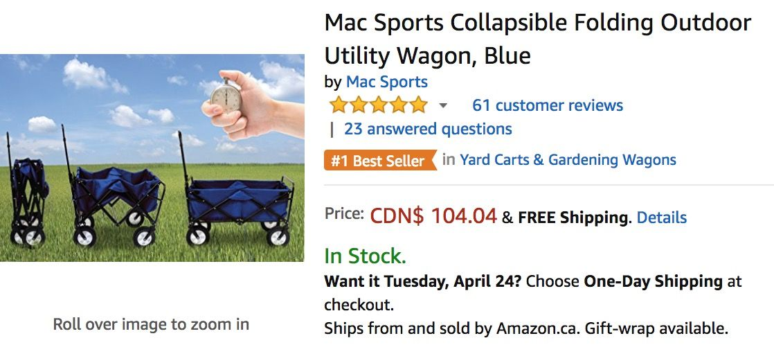 Amazon Canada Deals Get Mac Sports Collapsible Folding