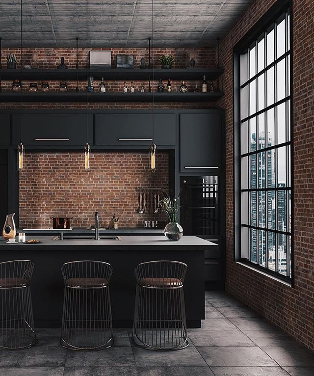 brick, exposed brick, loft, loft kitchen, industrial design, industrial kitchen, big windows, natural light, dream kitchen, kitchen lighting - #brick #design #exposed #industrial #kitchen - #new #interiordesign