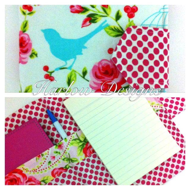 Organiser wallet- holds diary, pen and notepad Available from: www.facebook.com/HarlowDesigns1
