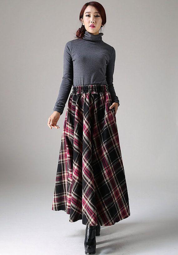 Maxi wool skirt women long skirt 1090 by xiaolizi on Etsy