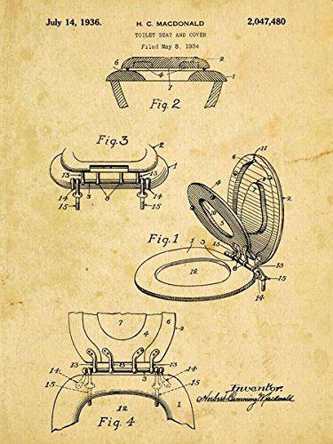 Toilet Seat Patent Drawing Metal Sign, Vintage, Bathroom, Steampunk ...