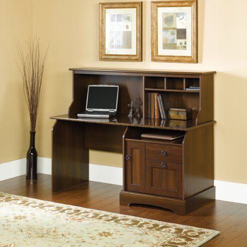 with hills desk orchard sauder finish carolina ip hutch computer oak