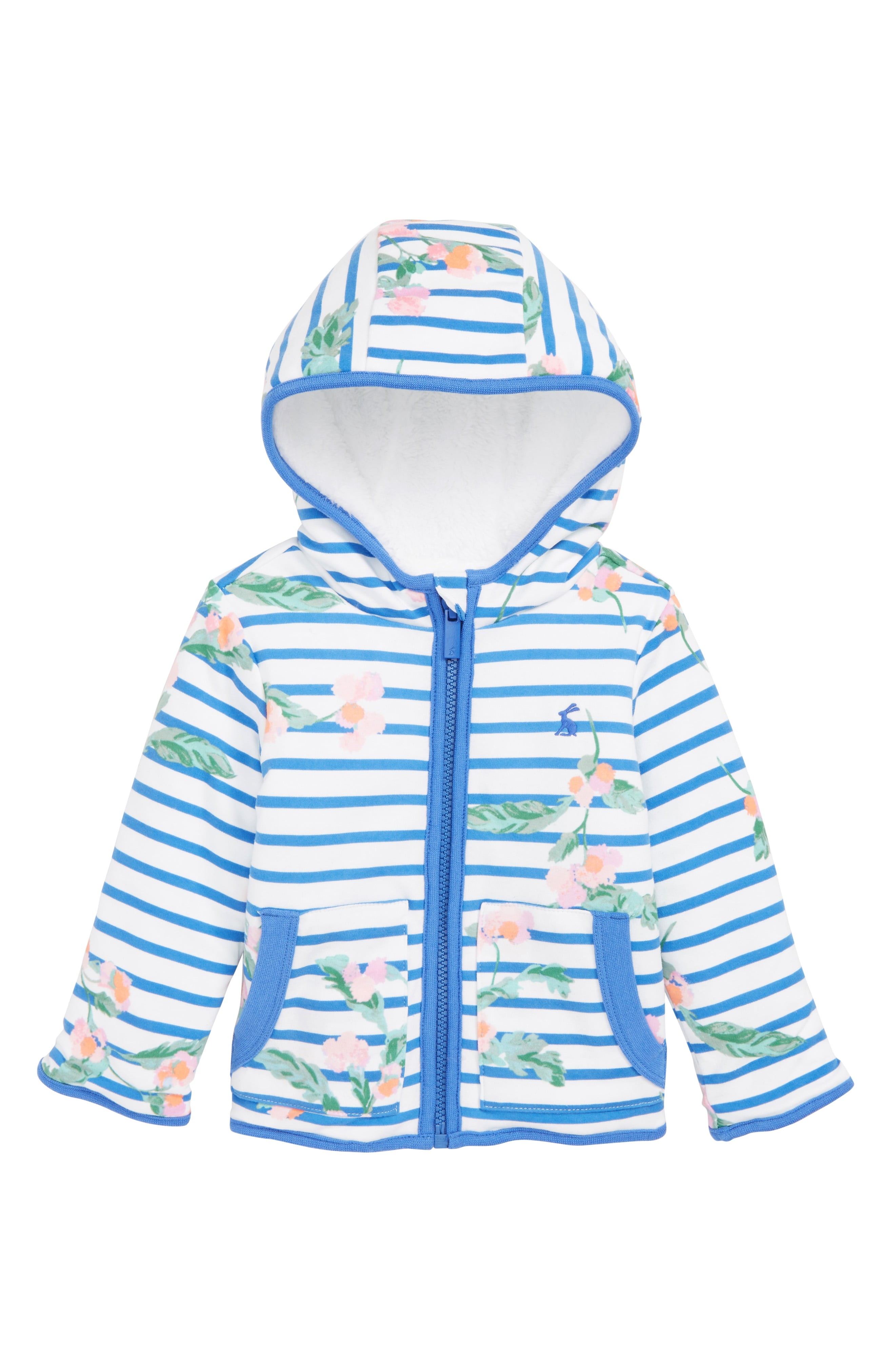 Joules Baby Cosette Reversible Jacket in WHITE STRIPE FLORAL Size Newborn