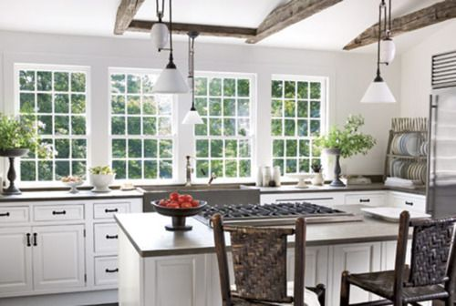 Love all the light in this kitchen and open beams Thanks @Liz Treutle Labianca for all the dream home inspiration!