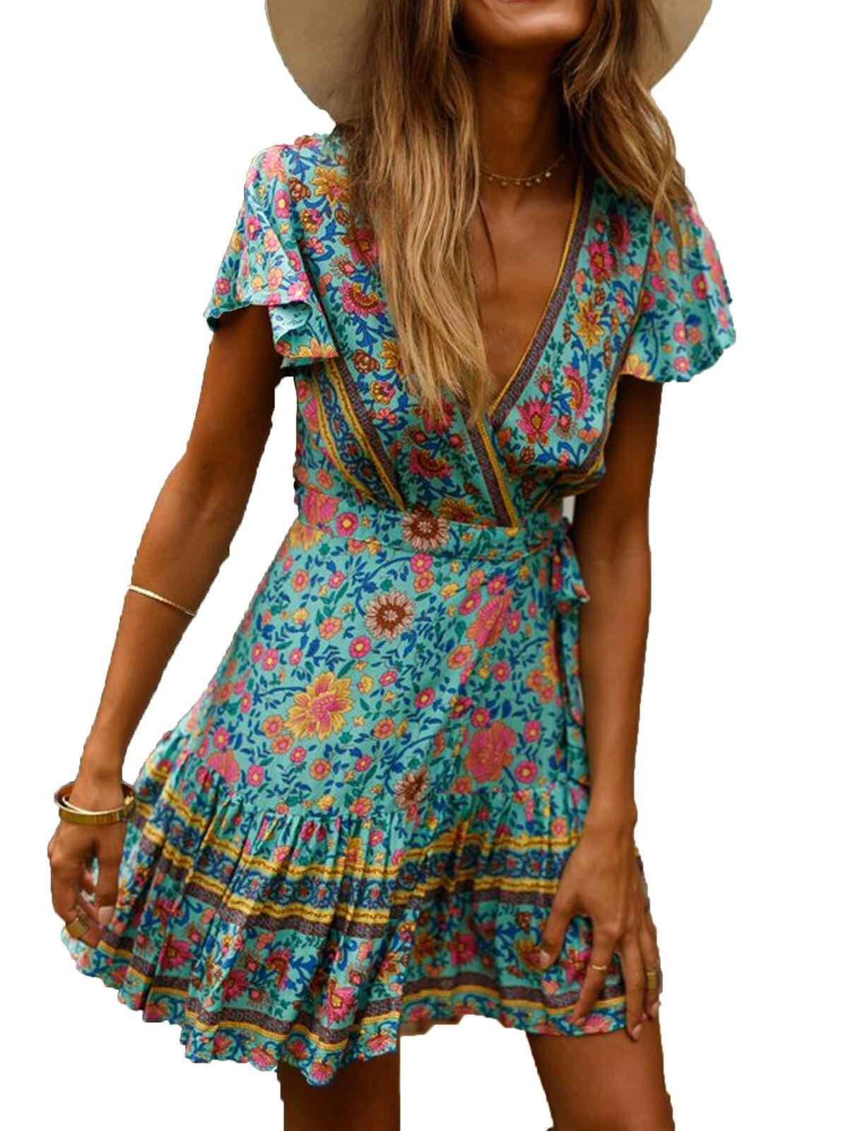 Multitrust Multitrust Women Short Sleeve Wrap Boho Floral Mini Dress Ladies Summer Sundress Walmart Com In 2021 Boho Dress Winter Short Sleeve Mini Dress Ruffle Dress [ 1600 x 1200 Pixel ]