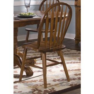 Nostalgia Traditional Oak Arrowback Windsor Side Chair With
