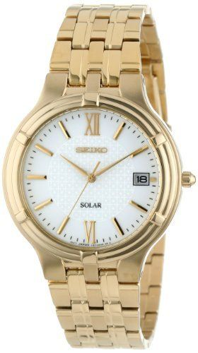 Seiko Men's SNE030 Dress Solar Watch (961613289292) Solar; Quartz movement keeps accurate time, no battery required Hardlex Crystal Date Gold-tone Water-resistant to 30 M (99 feet)