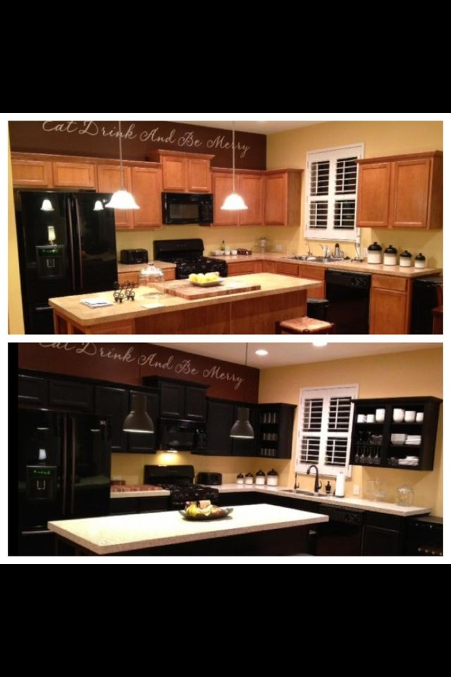 light oak to dark with white molding and buttercream walls ...