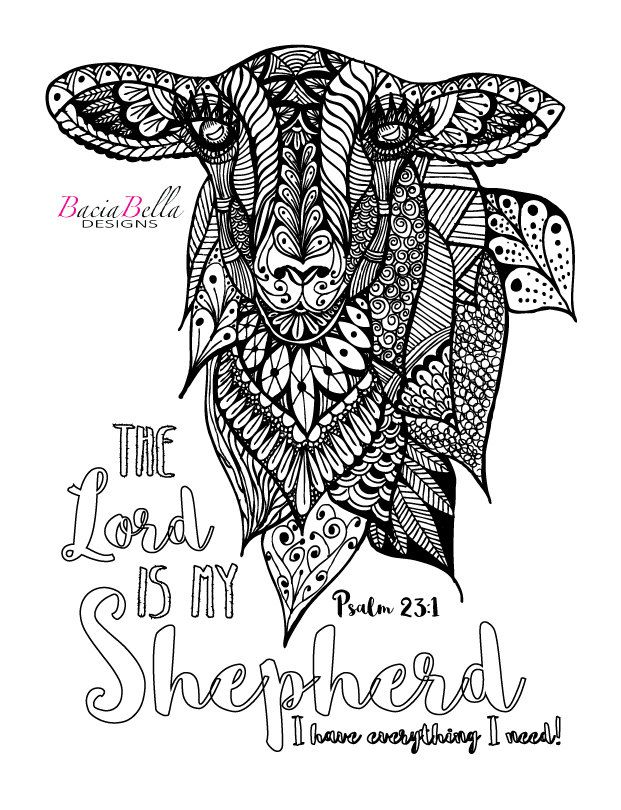 Zen Tangle Sheep Psalm 23 1 Adult Coloring Page The Lord Is My