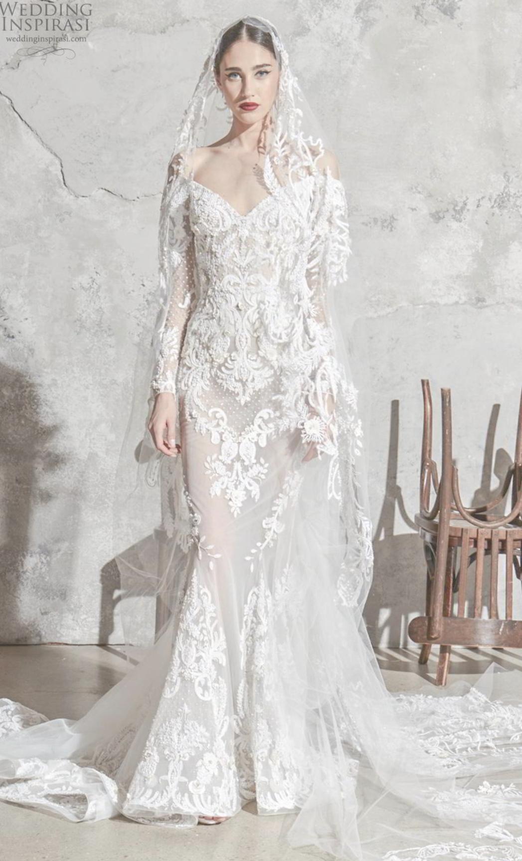 Featuring Zuhair Murad Spring 2020 Bridal Long Sleeves Off The Shoulder V Neck Full E Wedding Dresses Zuhair Murad Wedding Dress Inspiration Backless Wedding [ 1727 x 1047 Pixel ]