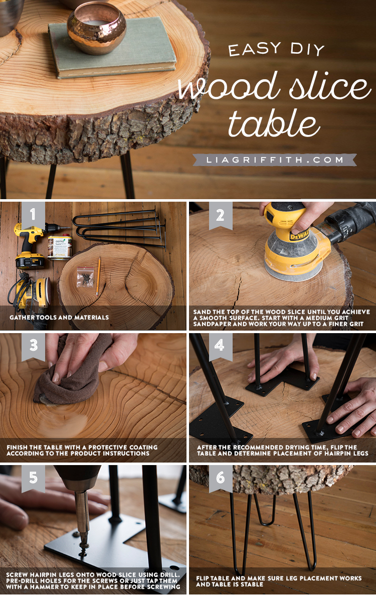 Diy Wood Slice Table Wooden Diy Diy Furniture Projects Diy